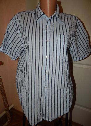Натуральная рубашка на лето жатка в полосочку.