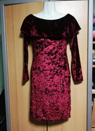 Шикарное бархатное платье,бордо