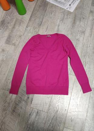 Пуловер розовый свитер с v образным вырезом