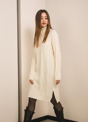 Вязаное платье туника длинный свитер свободное трендовое модное стильное