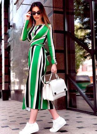 Хит блогеров и звезд инстаграм платье миди в контрасную полоску теплое рубчик zara