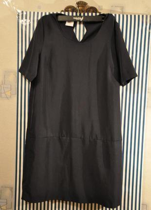 Красивезное темно синее платье миди короткий рукав