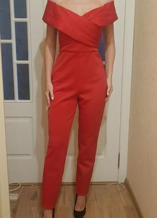 Новый нарядный красный комбинезон asos tall
