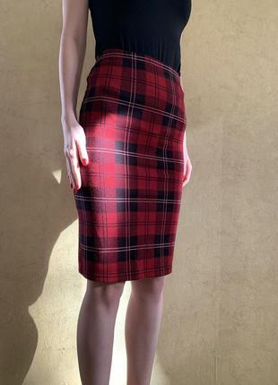 Юбка клетка,зимняя юбка в клетку ,красная юбка