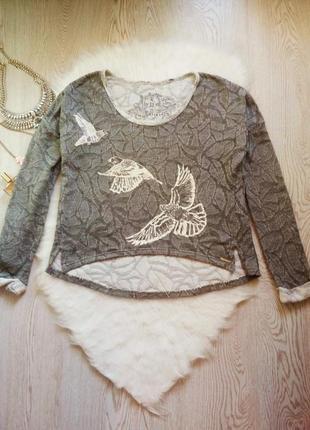 Серый меланж свитшот с белым принтом рисунком птицами оверсайз батал джемпер кофточка
