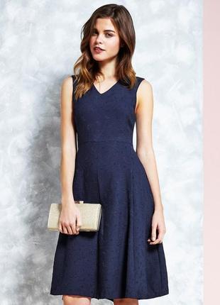 Брендовое синее жаккардовое вечернее макси платье uttam boutique узор листья этикетка