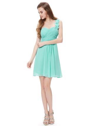 Шифоновое нарядное вечернее мини короткое платье на одно плечо jane norman бисер этикетка