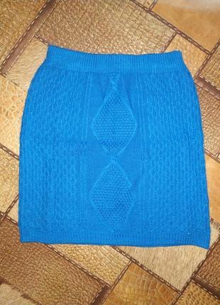 Теплая вязаная зимняя юбка s