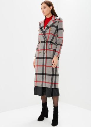 Новое шерстяное пальто в клеточку, двубортный тренч, на подкладе. trendy angel
