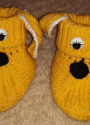 Носки пинетки собачки вязаные! новые! теплые.