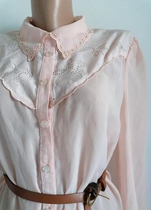 🌹нежная нюдовая рубашка с перфорацией 🌹пудренная блуза🌹бежевая рубашка