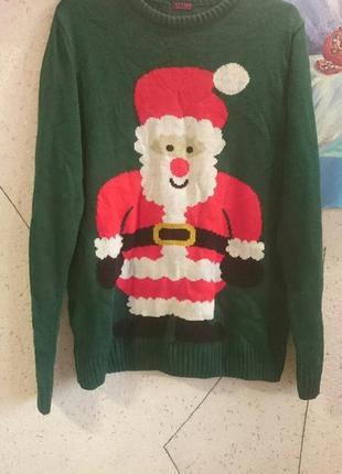 Новогодний свитер с прикольным сантой оверсайз