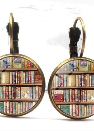 Стильные серьги книги/ библиотека