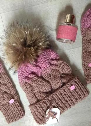 Скидки. модный комплект: шапка и варежки с градиентом ручной работы с мериносовой пряжи