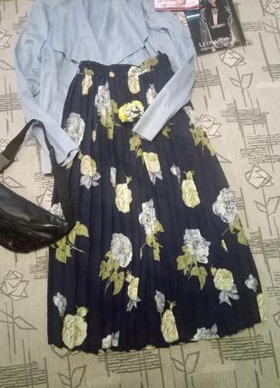 Распродажа!красивая шифоновая плиссерованная юбка сиди! размер 16-18