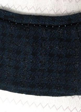 Юбка мини maison scotch тёмно синяя чёрная люрекс толстая тёплая зимняя
