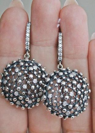 Серебряные серьги вьюга