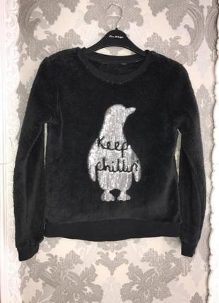 Меховой свитер свитшот с пингвином пайетками