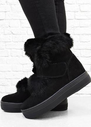 Замшевые ботинки с мехом норки fur. черные. 24,5 см