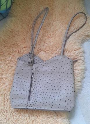 Сумочка беж кожа страуса рюкзак
