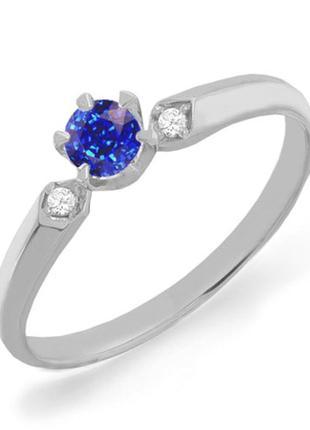 Золотое кольцо с сапфиром и бриллиантами 0,04 карат 16,5 мм. белое золото