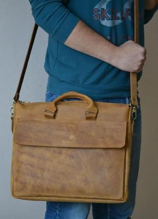 Мужская сумка мессенджер из натуральной кожи clifford 016