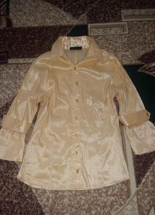 Блузка с коротким рукавом приталенная