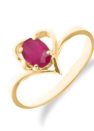 Золотое кольцо сердце с рубином 0,50 карат 17 мм. желтое золото женское