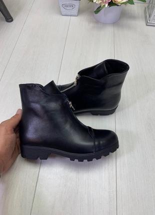 Деми/зима ботинки, ботильоны черные на низком ходу натуральный кожа