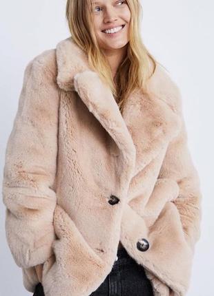Шуба пальто пиджак пудро воно цвета zara размер s