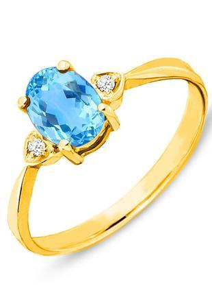 Золотое кольцо с топазом и бриллиантами 0,03 карат 17 мм. желтое золото