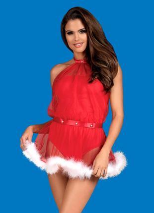 Santastic dress obsessive красное платье снегурочки подружка санты с боди