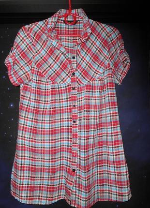 Рубашка клетчатая с короткими рукавами