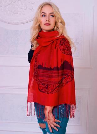 Женский красный шарф стамбул, турция