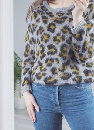Свитер в леопардовый принт (в составе шерсть и мохер)