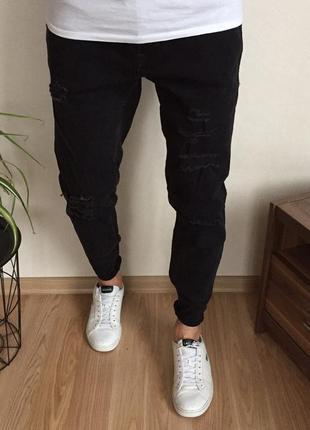 Крутые стильные зауженные мужские джинсы jack&jones