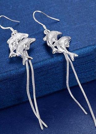 🏵стильные длинные серьги в серебре 925 дельфины с цепочками, новые! арт. 1920