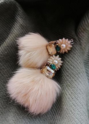Серьги с натуральным мехом сережки кисти серьги перья