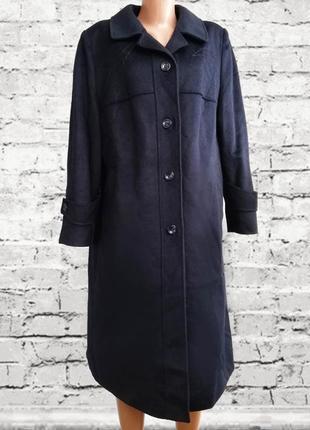 Шерстяное пальто , зимнее, темно синее / вишивка /хит италия