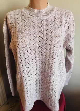 Шикарный ажурный шерстяной свитер оверсайз с блестящими нитями🤩