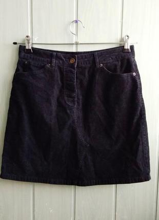 Черная вельветовая мини юбка а-силуэта