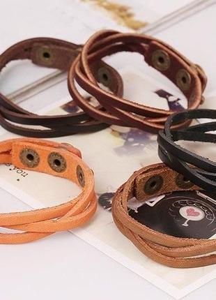 Комплект 5 кожаных браслетов.