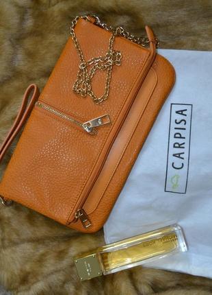 Италия сумка клатч на цепочке с короткой ручкой зернистая эко кожа carpisa рыжая