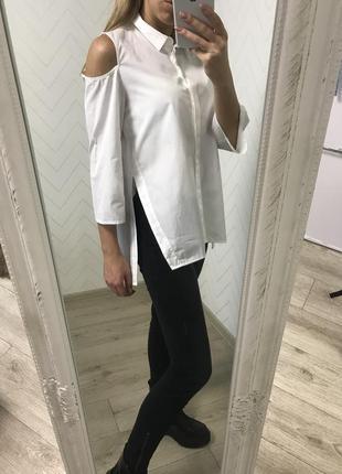 Белая удлинённая рубашка zara s/m