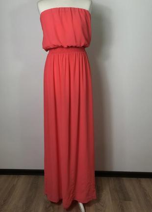 Летнее легкое кораловое макси платье бюстье в пол с открытыми плечами bershka l/12/40.