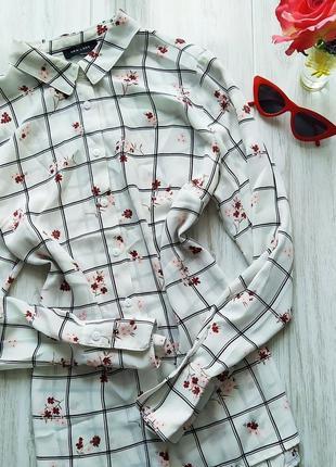 Шикарная белая рубашка в клетку 💋