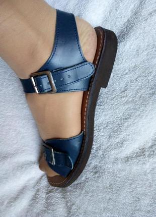 Синие босоножки сандалии натур кожа низкий ход от san malo бразилия
