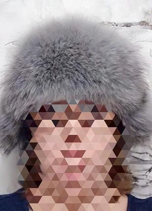 Шапка-ушанка 100% нат.кожа+натуральный мех песца