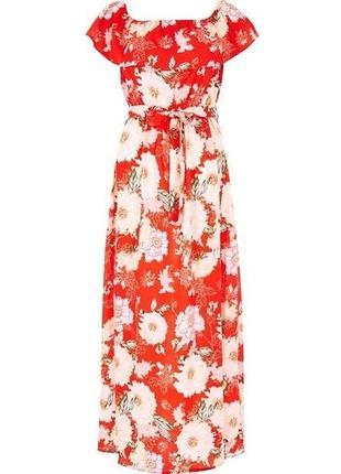 Платье макси с воланом и цветочным принтом river island