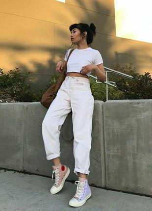 1+1=3🔥 стильні штани молочного кольору актуальні mom jeans